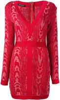 Balmain Moire patterned mini dress - women - Polyamide/Viscose - 36