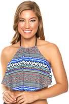 Women's Aqua Couture High-Neck Flounce Halter Bikini Top