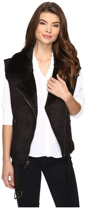 Dolce Vita Women's Faux Suede and Faux Shearling Combo Maelle Moto Vest
