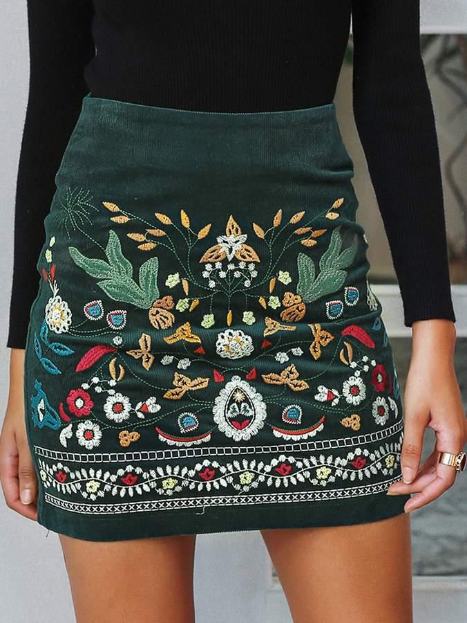 74c8a4df92 Green Corduroy Skirt - ShopStyle