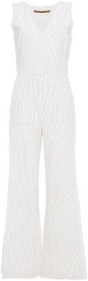 Enza Costa Flared Pinstriped Linen-blend Jumpsuit