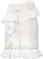 Self-Portrait frill lace skirt - women - Polyamide/Polyester - 8