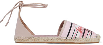 Red(V) Leather And Bead-embellished Striped Canvas Espadrilles