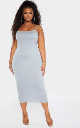 PrettyLittleThing Plus Black Strappy Jersey Maxi Dress