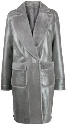 Lorena Antoniazzi metallic leather coat