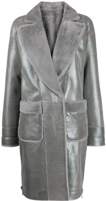 Lorena Antoniazzi Metallic Leather Coat