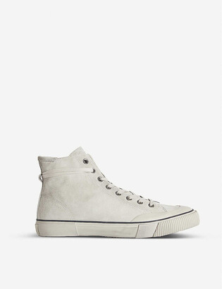 AllSaints Dumont brand-patch suede high-top trainers