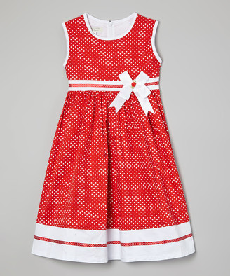 Richie House Girls' Casual Dresses Red - Red Dot Sash A-Line Dress - Toddler