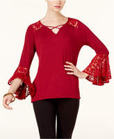 NY Collection Lace-Cuff Lace-Up Top