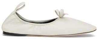 Loewe Square-toe Elasticated Leather Ballet Flats - Womens - Cream