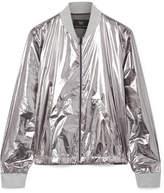 Heroine Sport - Windbreaker Ribbed Jersey-trimmed Metallic Shell Bomber Jacket - Silver