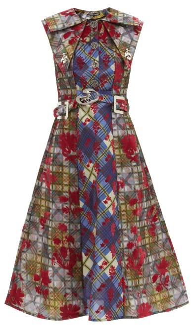 Thumbnail for your product : Chopova Lowena Belted Checked-taffeta A-line Midi Dress - Multi