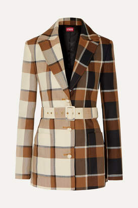 STAUD Pepper Faux Pearl-embellished Belted Checked Wool-blend Blazer - Neutral