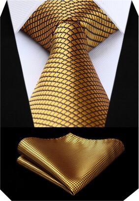 BIYINI Check Striped Wedding Tie Handkerchief Men's Necktie & Pocket Square Set For Formal Business