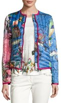 Etro Postcard-Print Quilted Jacket, Bluette
