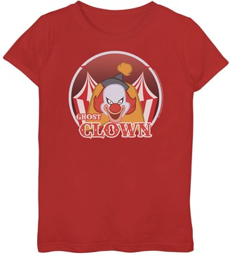 """Scooby-Doo Unbranded Girls 7-16 Ghost Clown"""" Retro Logo Graphic Tee"""