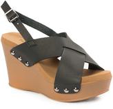 Pierre Dumas Black Cross-Strap Mighty Wedge Sandal