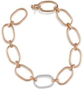Irene Neuwirth Large Oval Pave Diamond Link Chain Bracelet - Rose Gold
