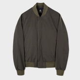 Paul Smith Men's Khaki Cotton-Blend Bomber Jacket With Concealed Fastening