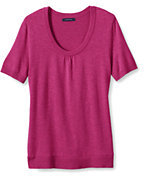 Classic Women's Petite Performance Soft Short Sleeve Sweater-Flax Stripe