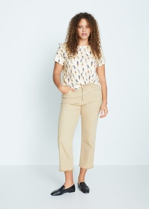 MANGO Embroidered detail print t-shirt