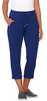 As Is Denim & Co. Active French Terry Crop Pant w/ Mesh Detail