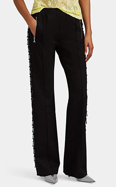 Area Women's Beaded Satin-Trimmed Track Pants - Black