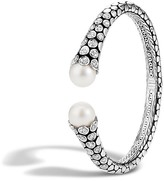John Hardy Dot Sterling Silver Diamond Pavé Kick Cuff with Cultured Freshwater Pearls