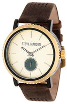 Steve Madden Alloy and Perforated Leather Strap Watch