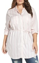 Melissa McCarthy Plus Size Women's Belted Two-Pocket Tunic Shirt