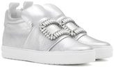 Roger Vivier Sneaky Viv Embellished High-top Metallic Leather Sneakers