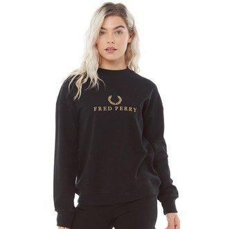 Fred Perry Womens Embroidered Sweatshirt Black