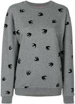 McQ by Alexander McQueen flocked swallow sweatshirt - women - Cotton - XS