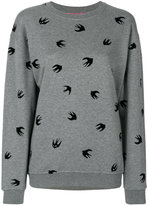 McQ by Alexander McQueen flocked swallow sweatshirt