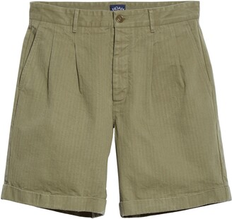 Noah Pleated Herringbone Shorts