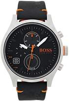 HUGO BOSS Amsterdam Black Multidial Black Leather Strap Mens Watch