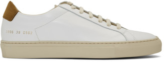 Common Projects White and Tan Retro Low Special Edition Sneakers