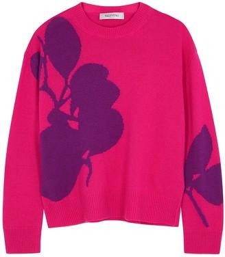 Valentino Pink Floral-intarsia Wool-blend Jumper