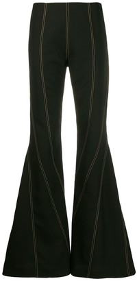Thierry Mugler Topstitch Flared Trousers