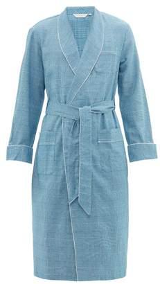 Derek Rose Kelburn Houndstooth Checked Cotton Flannel Robe - Mens - Light Blue