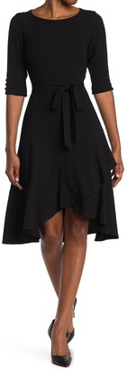 Gabby Skye Elbow Sleeve Tie Waist High/Low Midi Dress