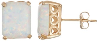 10k Gold Lab-Created Opal Rectangle Stud Earrings