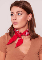 Missy Empire Dakota Red Print Square Bandana Scarf
