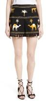Kate Spade Women's Tassel Trim Camel Print Shorts