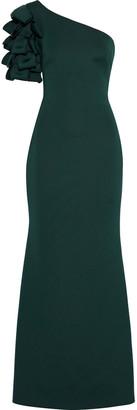 Badgley Mischka One-shoulder Ruffled Scuba Gown