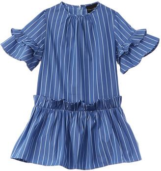 Oscar de la Renta Striped Ruffle Dress