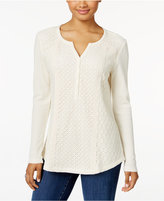 Style&Co. Style & Co. Waffle-Knit Lace Top, Only at Macy's