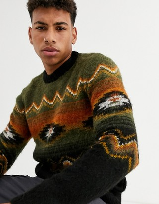 New Look brushed aztec pattern jumper in khaki-Green