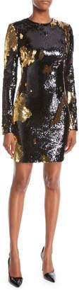 Naeem Khan NK32 Long-Sleeve Sequin Mini Dress