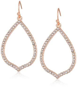 T Tahari Essentials Women's Pave Teardrop Hoop On Fish Wire Drop Earrings